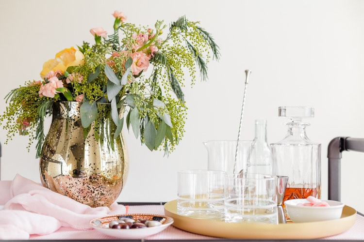 How to Style a Pretty Bar Cart for Valentine's Day (or Any Day)