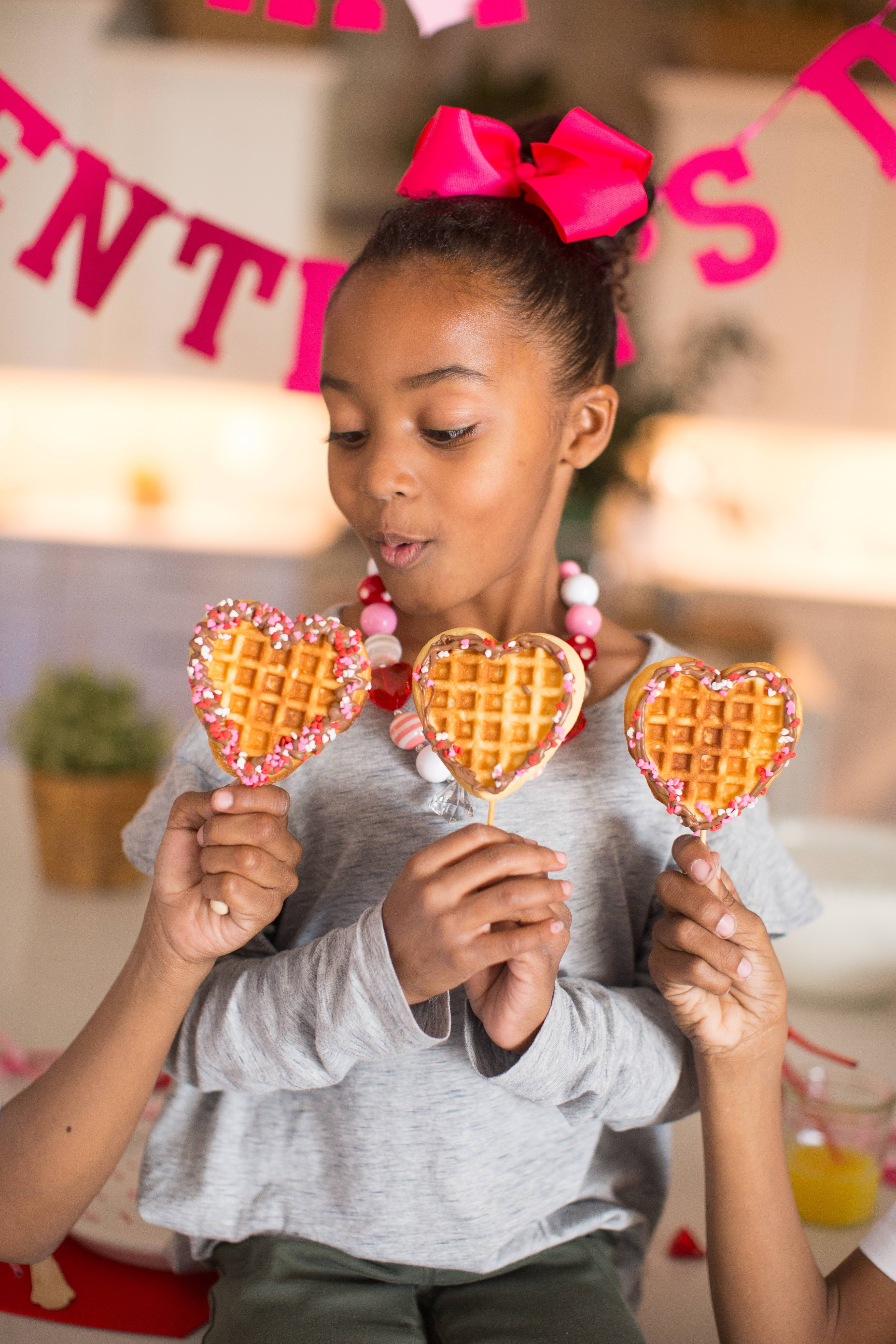 Valentine's Day Heart-Shaped Waffles on a Stick