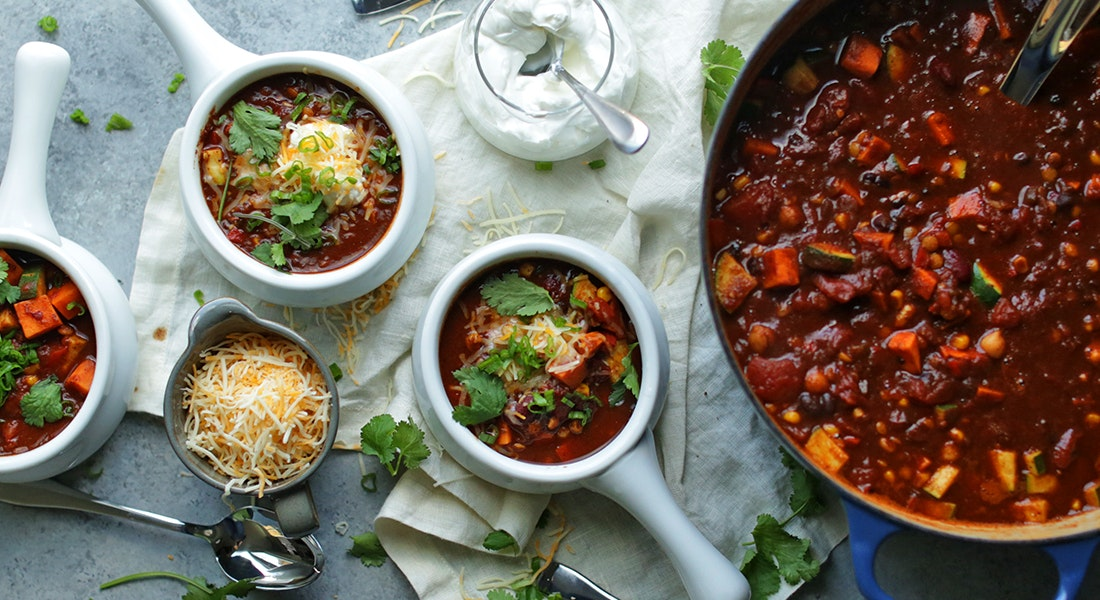 Vegetarian Chili Recipe with Sweet Potatoes and Lentils
