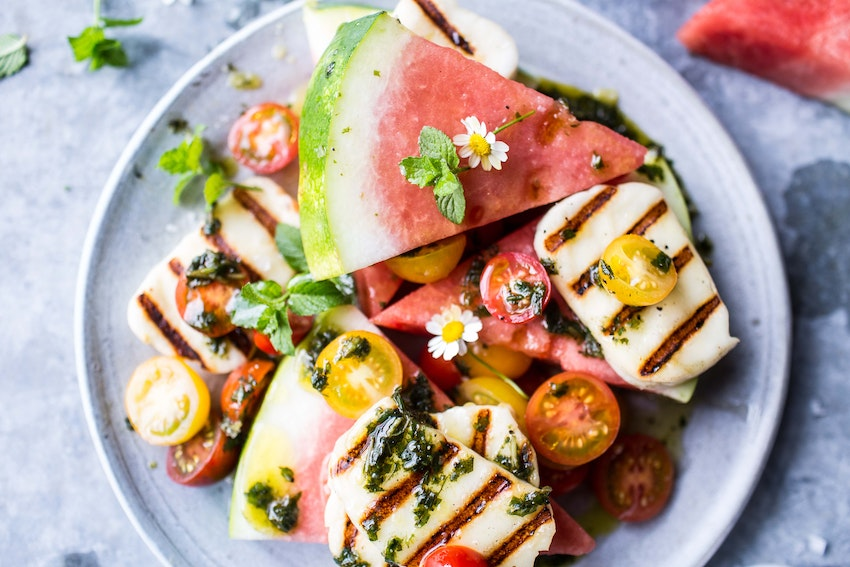 Grilled Halloumi and Watermelon Salad with Basil Oil