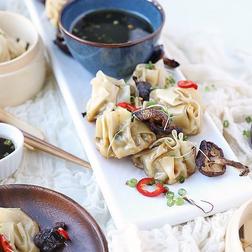 Asian Dumplings with Bok Choy and Chicken