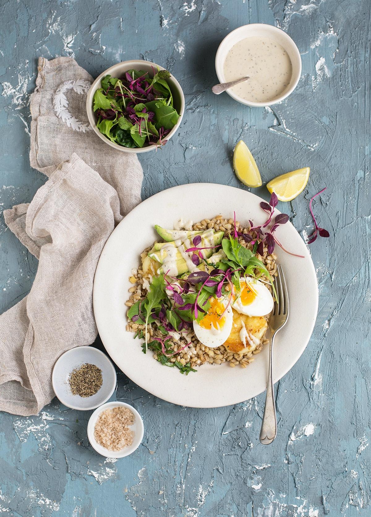 Barley Breakfast Bowl With Egg Avocado And Tahini Dressing