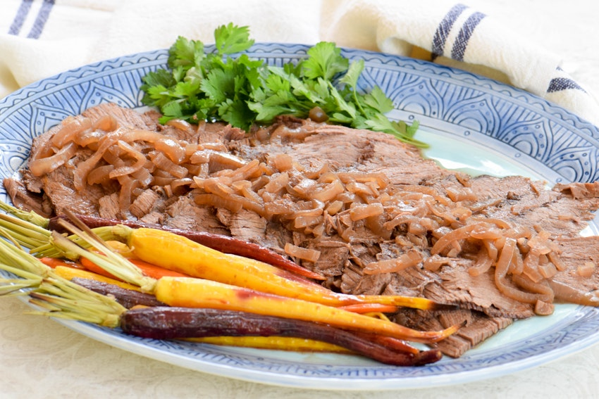 Braised Beef Brisket & Roasted Carrots with a Pomegranate-Honey Glaze for Rosh Hashanah