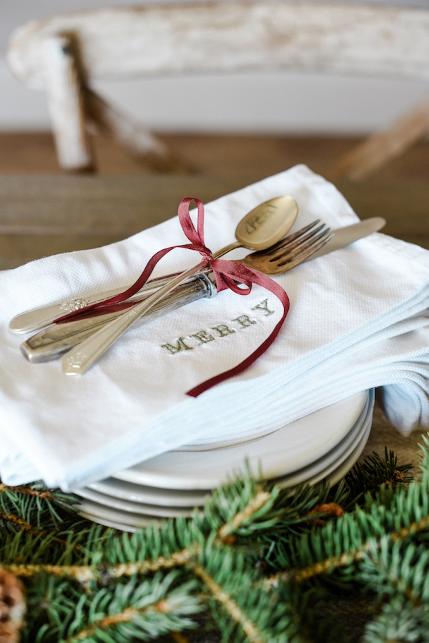 DIY Embroidered Holiday Napkins