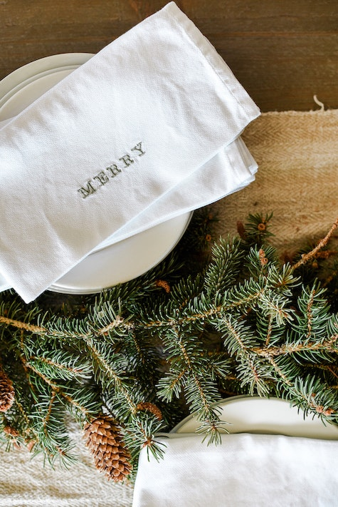Diy Embroidered Holiday Napkins The Inspired Home