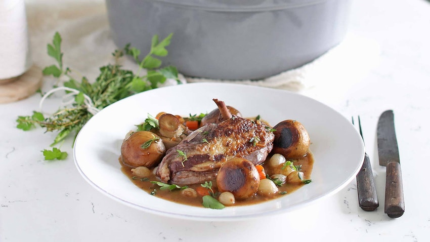 Classic Coq Au Vin with Mushrooms and Pearl Onions