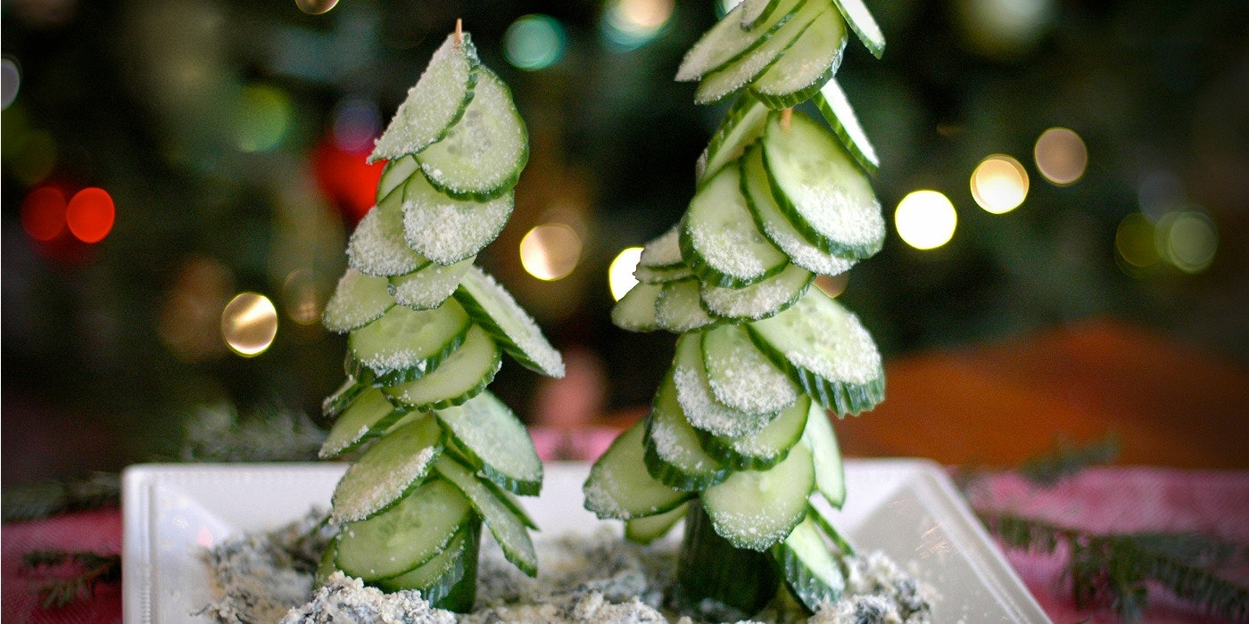 Festive Cucumber Tree Appetizers & Gourmet Gifts for Kids