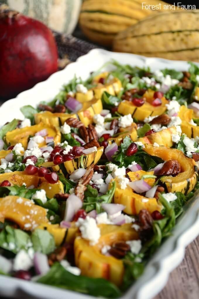 Delicata Squash Salad Maple Balsamic Dressing 1A