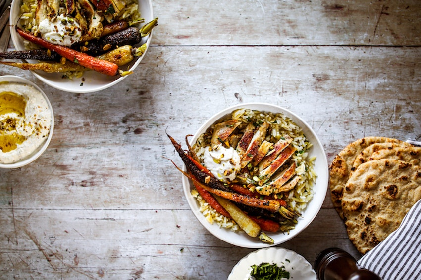 Dukkah Marinated Chicken Thighs with Rice Pilaf and Roasted Carrots