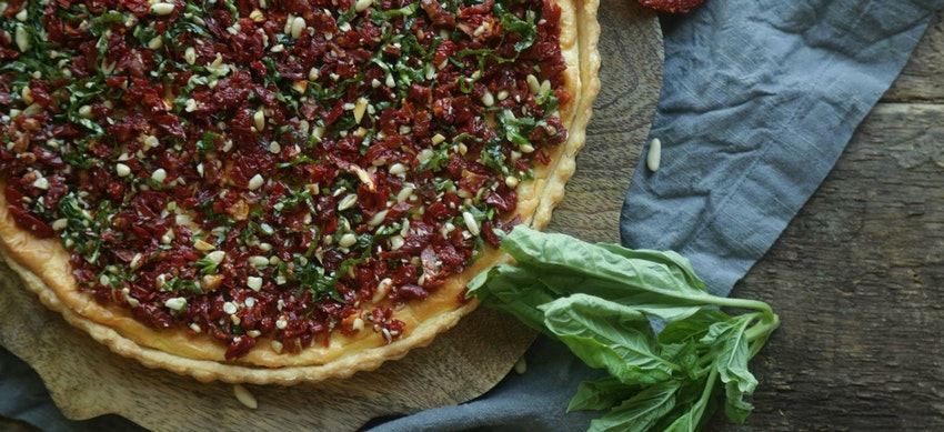 Goat Cheese Tart with Sundried Tomatoes, Pine Nuts + Basil