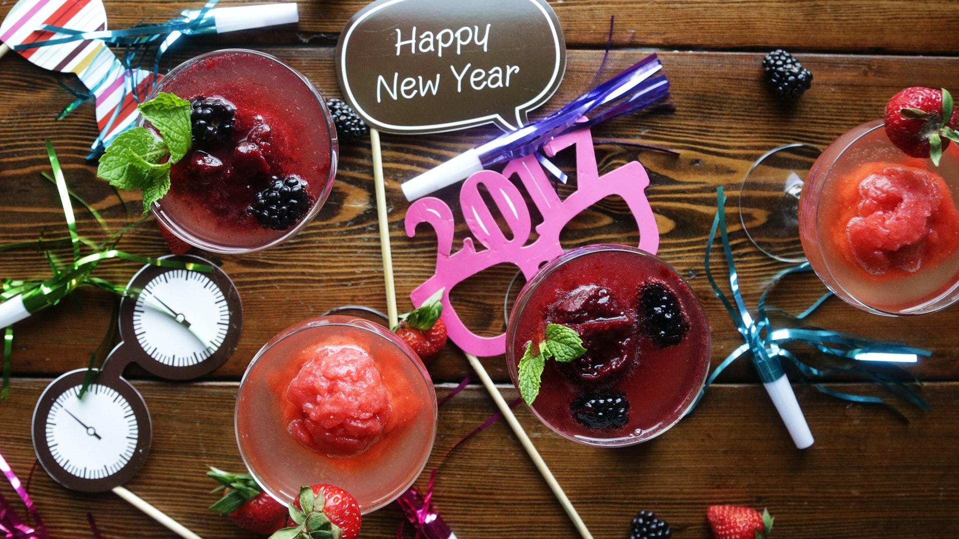 Strawberry and Blackberry Granita Champagne Cocktails