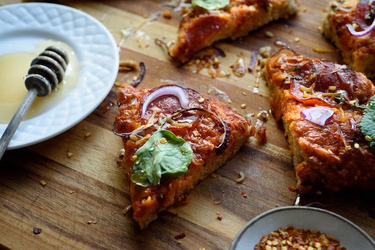 Grilled Homestyle Pizza with Honey Sriracha Glaze Recipe