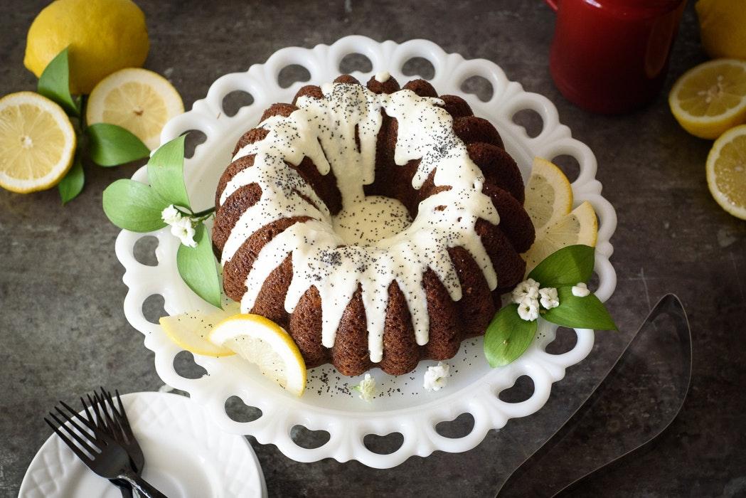 Banana Poppyseed Bundt Cake with Cream Cheese Lemon Zest Glaze