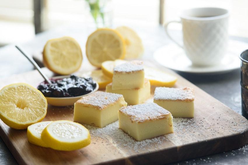 Vanilla Bean Magic Cake with Blueberry Lemon Sauce Recipe
