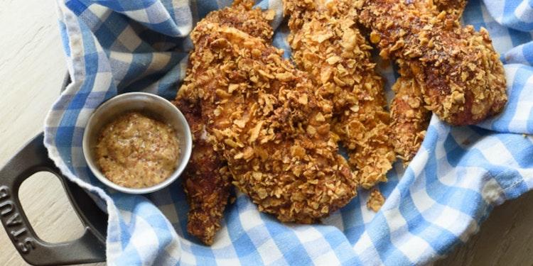 """Spicy Honey Cornflake Baked """"Fried"""" Chicken Recipe"""