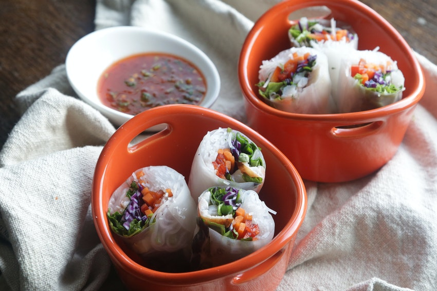 Lobster Spring Rolls with Spicy Dipping Sauce
