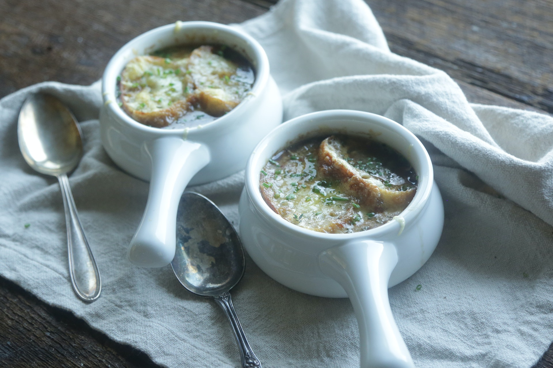 Spring Sweet Onion Soup with Gruyere Cheese Baguettes