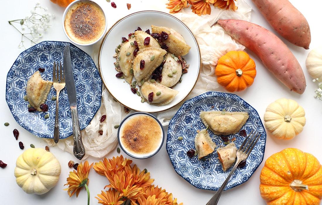 Pumpkin Sweet Potato Pierogis with Marshmallow Sauce & Pecans
