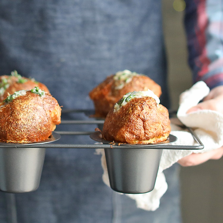 Gruyère Cheese Popovers with Garlic & Herb Butter