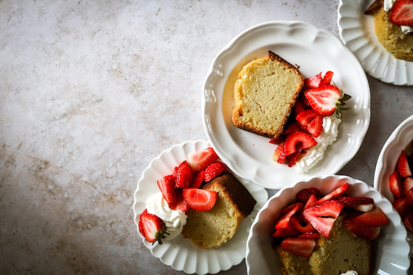 Classic Pound Cake with Fresh Summer Strawberries and Homemade Whipped Cream