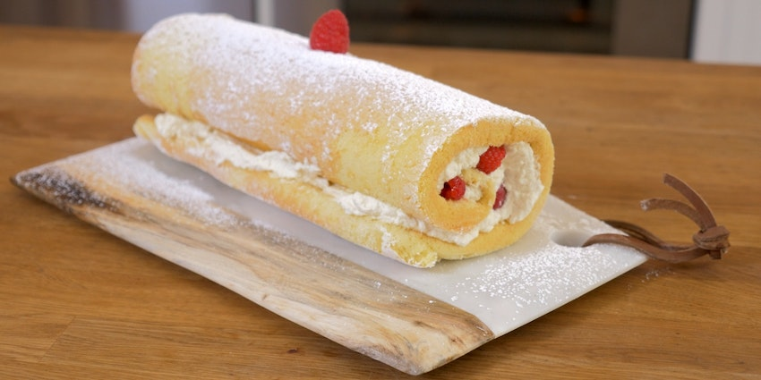 Roulade with Raspberries and Cream