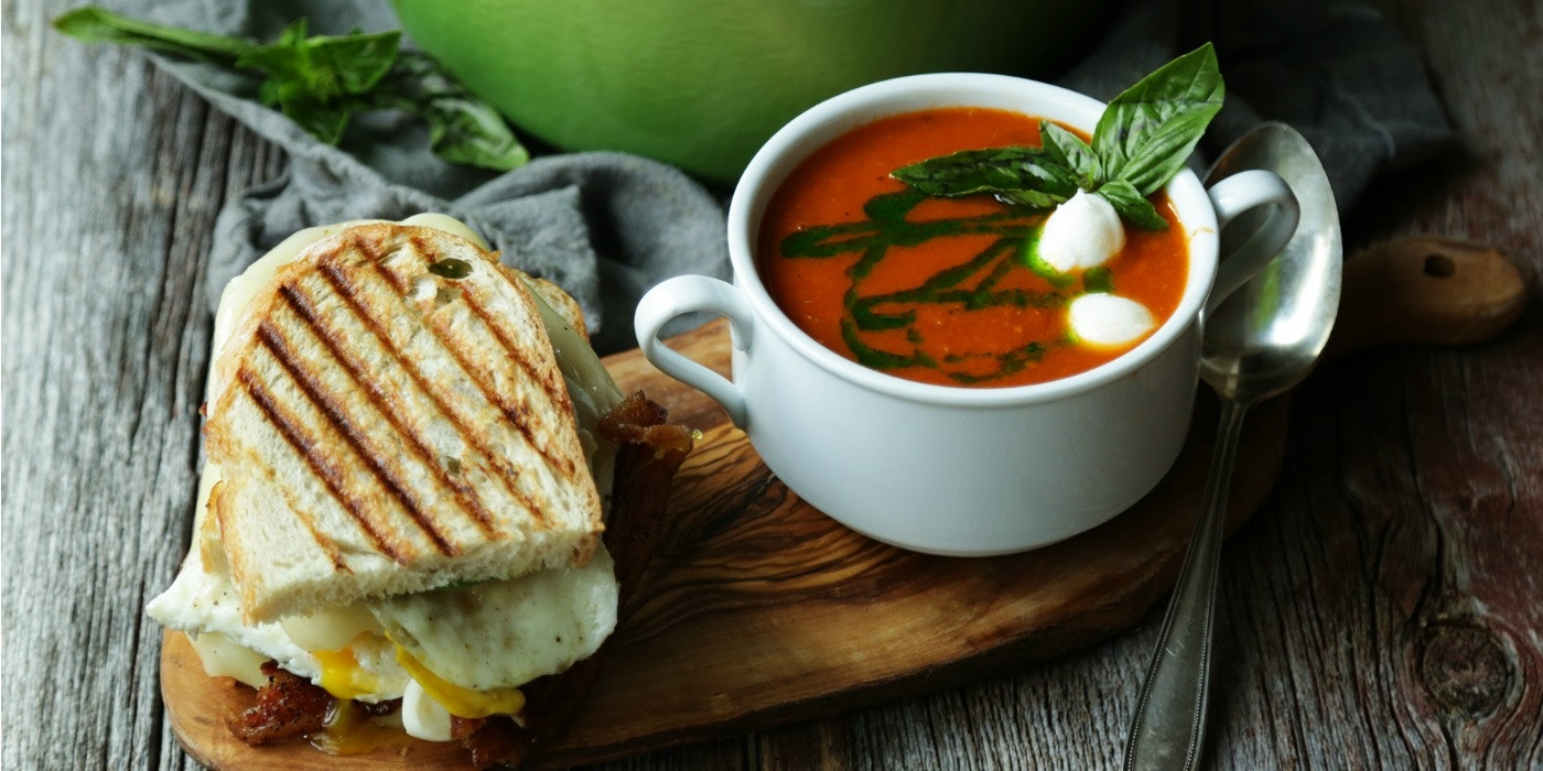 Roasted Tomato Confit Soup & Avocado Bacon Grilled Cheese