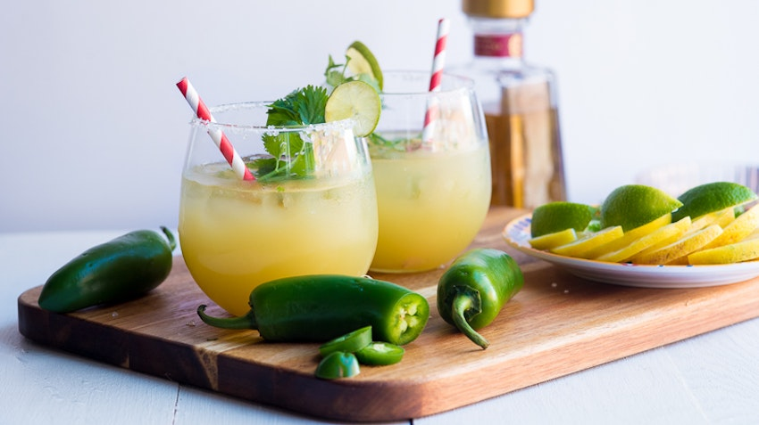 Spicy Pineapple Cilantro Margaritas