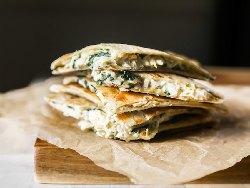 Spinach, Chile, and Green Onion Chicken Quesadillas