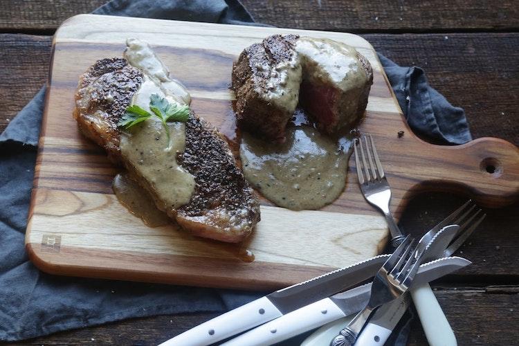 Steak au Poivre with Cognac Cream Sauce