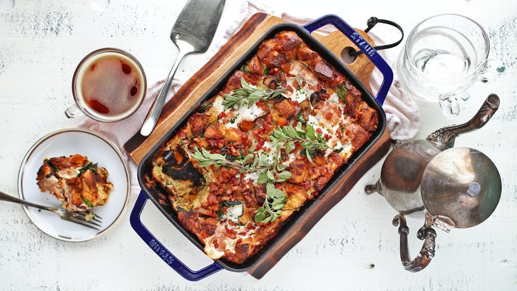 Strata Breakfast Recipe with Roasted Onions and Butternut Squash