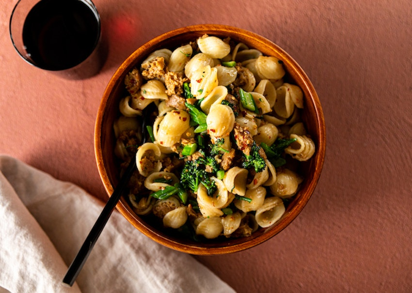 Orecchiette with Vegan Sausage and Broccolini