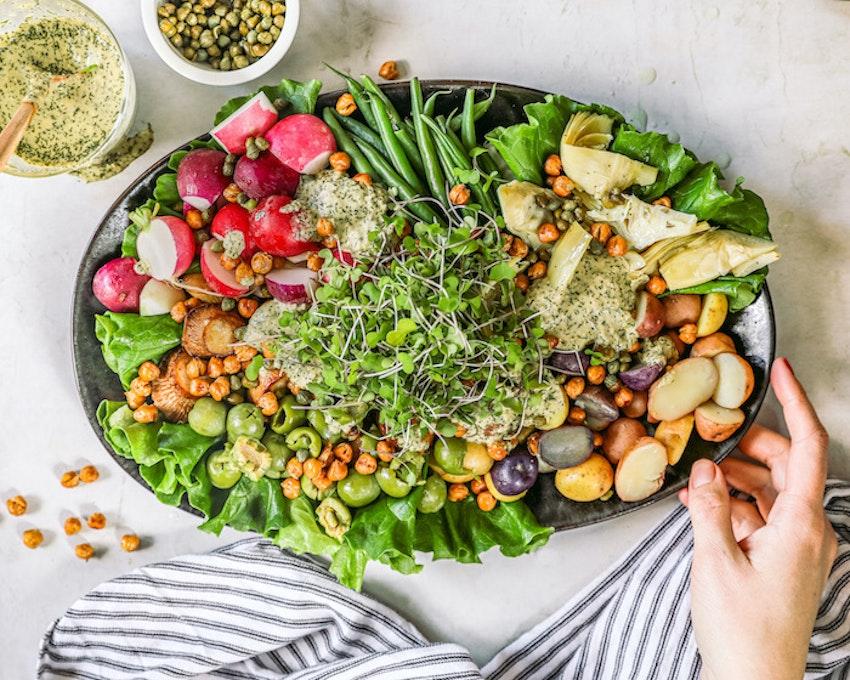 """Vegan Niçoise Salad with Crispy Chickpeas and Mushroom """"Scallops"""""""