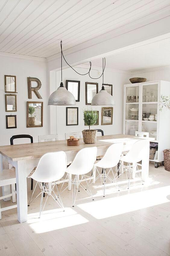 White Scandinavian Dining Room Inspired Home